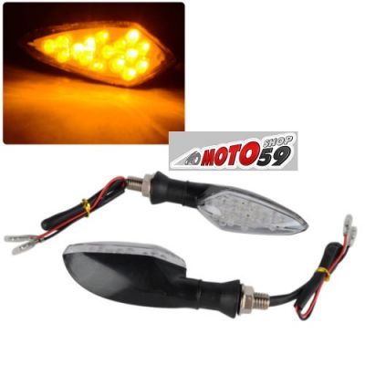 CLIGNOTANTS BARACUDA MOTO NOIRS LED ABS x2