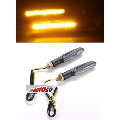CLIGNOTANTS STEM MOTO NOIRS LED ABS x2
